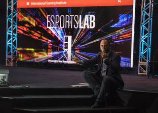 Millennial Esports CEO Alex Igelman speaks to students as his corporation partners with UNLV to host the opening night of the university's academic Esports class and lab, inside an actual Esports arena on Thursday, September 7, 2017.
