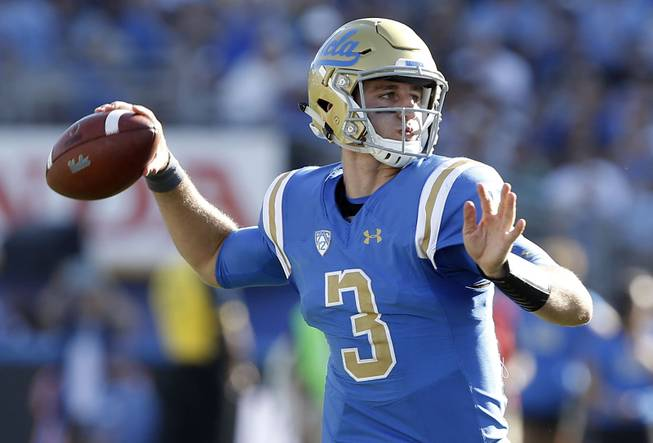 UCLA quarterback Josh Rosen (3) passes the ball against Hawaii during the second half of an NCAA college football game in Pasadena, Calif., Saturday, Sept. 9, 2017. UCLA won 56-23.