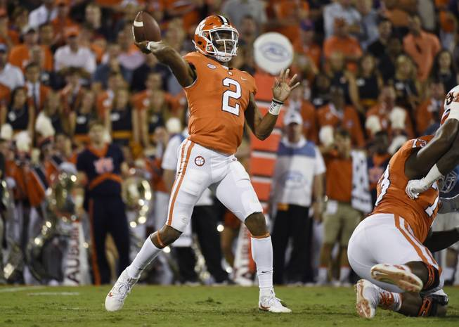 Clemson quarterback Kelly Bryant (2) throws the ball against Auburn during the first half of an NCAA college football game, Saturday, Sept. 9, 2017, in Clemson, S.C. Clemson won 14-6.