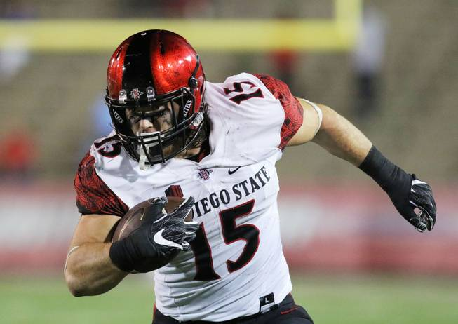 San Diego State Aztecs fullback Nick Bawden runs the ball against the South Alabama Jaguars during the second half of an NCAA college football game, Saturday, Oct. 1, 2016, in Mobile, Ala. South Alabama defeated San Diego State 42-24.