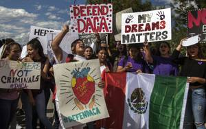 Rancho High School student Rachel Diaz takes the lead during a chant at a rally to demand Congress to pass the DREAM Act on Wednesday, September 13, 2017.