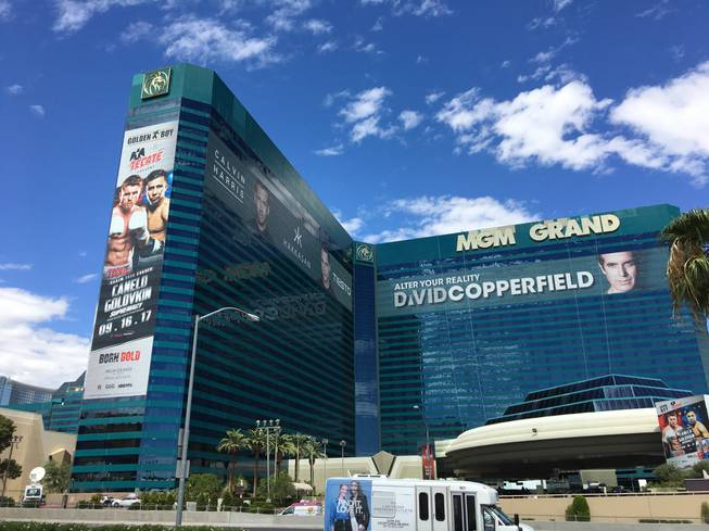A 200-foot-tall-by-45-foot wrap on MGM Grand promotes the long-anticipated middleweight championship fight on Saturday.