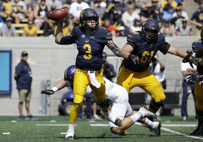 California quarterback Ross Bowers (3) passes against Weber State during an NCAA college football game in Berkeley, Calif., Saturday, Sept. 9, 2017.