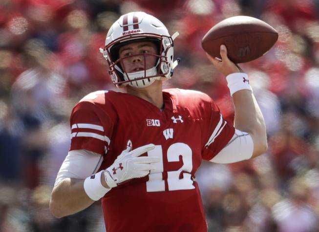 Wisconsin quarterback Alex Hornibrook throws during the first half of an NCAA college football game against Florida Atlantic Saturday, Sept. 9, 2017, in Madison, Wis.