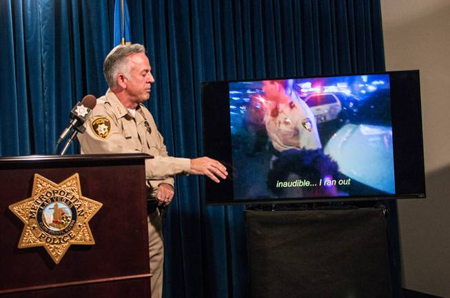 Clark County Sheriff Joe Lombardo briefs reporters Sept. 29, 2017, on an internal investigation into allegations made by NFL star Michael Bennett of excessive police force during an August incident on the Las Vegas Strip.