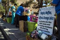 HealthCare Partners mans a free food and drink relief station for UMC team personnel and victim's families outside UMC following a mass shooting on Sunday night across from the Mandalay Bay on Tuesday, October 3, 2017.   .