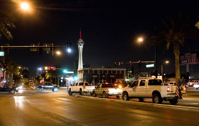 On Thursday night Oct. 6th, dozens of people and vehicles participated in a flag ride convoy riding up and down Charleston Blvd near Las Vegas Vegas Blvd in response to the mass shooting tragedy that occurred on the Las Vegas Strip on Sunday, Oct. 1, 2017.