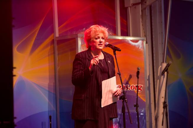 Las Vegas Mayor Carolyn Goodman speaks at a vigil during First Friday in Downtown Las Vegas, in memory of the victims of the Route 91 Havest Festival. OCt. 6, 2017.