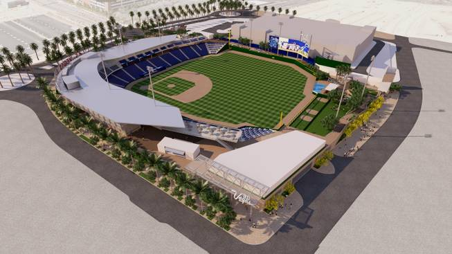 A rendering of the southeast view of the Las Vegas Ballpark, being designed by HOK and developed by the Howard Hughes Corp. in Downtown Summerlin to house the Las Vegas 51s.