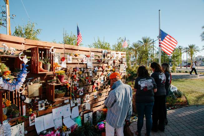 The day after a mass shooting took place on the Las Vegas Strip, Jay Pleggenkuhle and Daniel Perez of Stonerose Landscapes organized the building of a community healing garden through volunteers and donations from various businesses. The Garden opened on First Friday, Oct. 6, five days after the tragic event. It is now filled with tokens of remembrance for the fallen victims, Monday, Oct. 10, 2017.