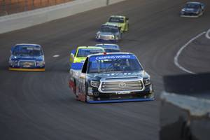Eventual winner Ben Rhodes navigates a corner during the NASCAR Camping World Truck Series Las Vegas 350 Saturday, September 30, 2017, at the Las Vegas Motor Speedway. CREDIT: Sam Morris/Las Vegas News Bureau .