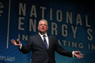 Former Vice President Al Gore gives the keynote address during the National Clean Energy Summit 9.0 at the Bellagio on Friday, Oct. 13, 2017.