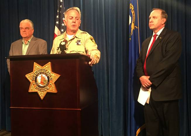 Clark County Sheriff Joe Lombardo conducts a briefing Friday, Oct. 13, 2017, about the Oct. 1, 2017, shooting on the Las Vegas Strip that left 58 dead and more than 500 injured. With Lombardo are Clark County Commissioner Steve Sisolak, left, and FBI Special Agent in Charge Aaron Rouse.
