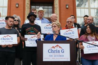 Chris Giunchigliani announced her campaign for Governor in Downtown Las Vegas, Nev. on October 18, 2017.