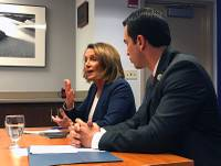 Pelosi visited the hospital days after President Donald Trump ended a key component of the Affordable Care Act that helped insurance providers cover costs ...