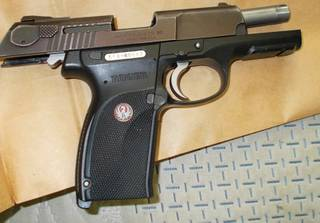 A undated photo of a weapon seized in an Operation Spartan Fist search warrant.