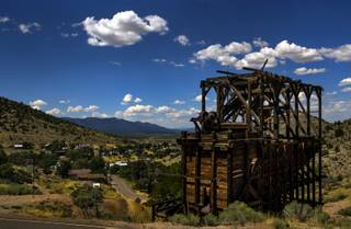 Remains of the mining industry dot the landscape about Pioche, Nevada, on Thursday, August 17, 2017.   L.E. Baskow