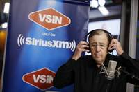 """You are looking live ..."" was his signature intro over a sweeping camera shot, but instead of a snow-capped Lambeau Field or sunny Los Angeles Coliseum, Brent Musburger finds himself in a television studio plopped in the middle of a casino floor guarded by a battalion of one-armed bandits. Inside this glass box, Musburger, 78, is dressed in all black ..."
