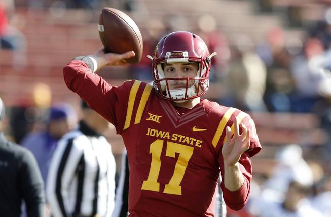 Iowa State quarterback Kyle Kempt warms up before a game against TCU, Saturday, Oct. 28, 2017, in Ames, Iowa.