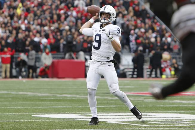 Penn State quarterback Trace McSorley plays against Ohio State during an NCAA college football game Saturday, Oct. 28, 2017, in Columbus, Ohio. (AP Photo/Jay LaPrete)