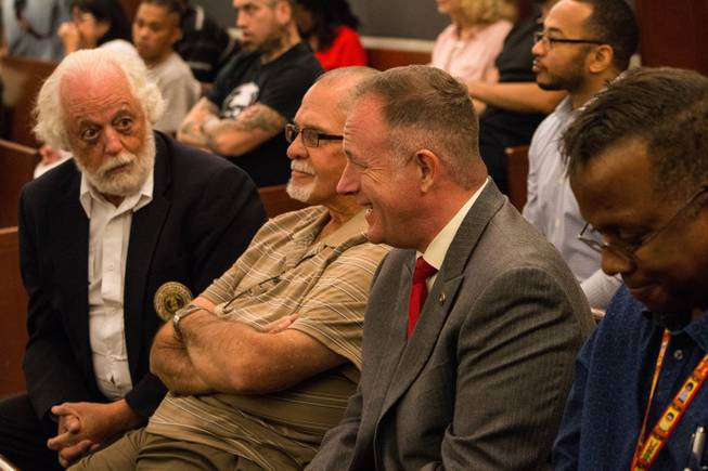 Attendees gather at the Las Vegas Justice Court for a Veterans Treatment Court graduation ceremony Oct. 25, 2017.