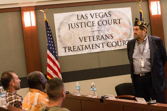 Nevada Supreme Court Chief Justice Michael Cherry addresses a Veterans Treatment Court graduation ceremony on Oct. 25, 2017.