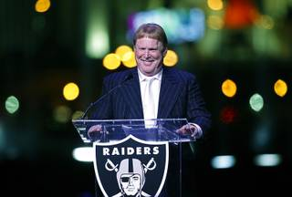 Oakland Raiders owner Mark Davis speaks during a ceremonial groundbreaking for the NFL football team's stadium Monday, Nov. 13, 2017, in Las Vegas.