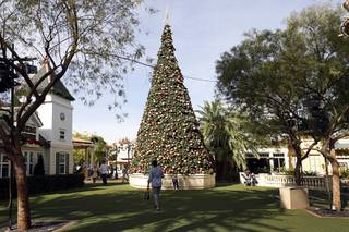 A Christmas tree is shown in Town Square Las Vegas Monday, Nov. 13, 2017.