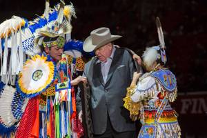 The Indian National Finals Rodeo honors South Point Hotel and Casino owner Michael Gaughan during a special ceremony, Friday Nov. 10, 2017. The INFR is in its 42nd year, with 10 consecutive years taking place at the South Point.