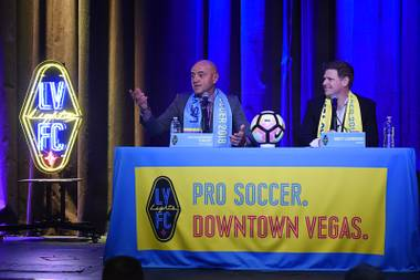 "Las Vegas Lights soccer team coach Jose Luis Sanchez Sola, more commonly known as ""Chelis,"" answers a question during his introduction Tuesday, November 14, 2017, at the Inspire theater in Las Vegas."