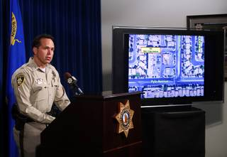 Assistant Sheriff Tom Roberts speaks during a news conference at Metro Police headquarters Tuesday, Nov. 14, 2017. Police discussed details about the Nov. 11, 2017 officer-involved shooting that occurred at 780 East Pyle Avenue.