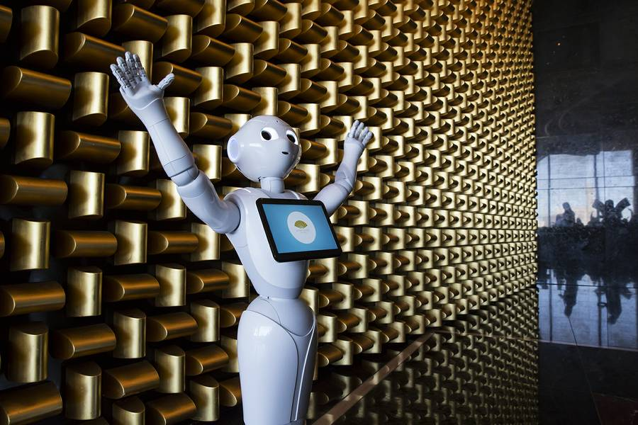 Pepper greets visitors to the Mandarin Oriental's 23rd floor Sky Lobby. The 4-foot tall humanoid robot serves as both an attraction and a wealth of information as guests click on her interactive screen.