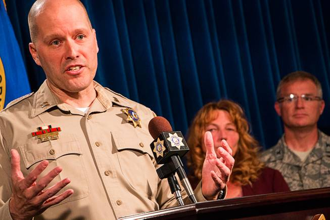 Metro Police Capt. James LaRochelle, left, on Thursday, Nov. 16, 2017, presents the ShotSpotter technology that has been implemented in the Las Vegas Valley as part of a one-year pilot program that uses sensors to triangulate the source of gunfire. At right are Clark County Commissioner Marilyn Kirkpatrick and Nellis Air Force Base Commander Col. Paul Murray.