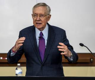 Senator Harry Reid speaks on the necessity of immigration law practice as UNLV formally launches the Edward M. Bernstein and Associates Children's Rights Program on Thursday, Nov. 16, 2017.