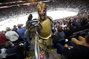 A man dressed as a Golden Knight is shown at T-Mobile Arena Sunday, Nov. 19, 2017.