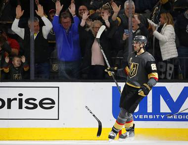 Vegas Golden Knights right wing Alex Tuch celebrates after scoring against the Los Angeles Kings during the third period of an NHL hockey game, Sunday, Nov. 19, 2017, in Las Vegas.