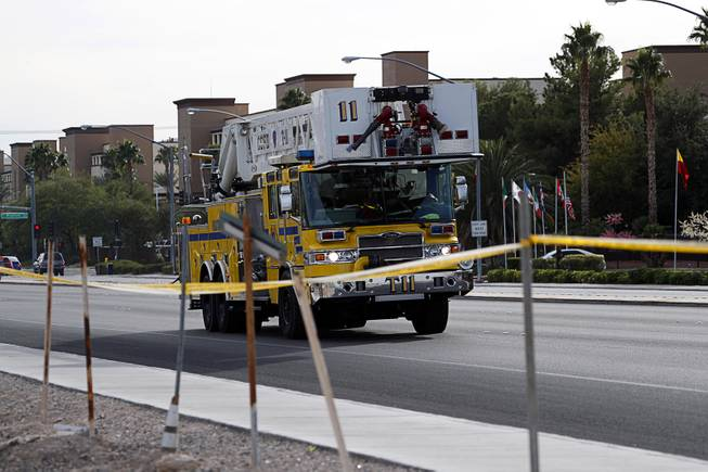 A Clark County Fire Department ladder truck leaves the Budget Suites in the 8400 block of South Las Vegas Boulevard Monday, Nov. 20, 2017.