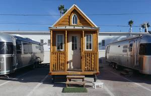 A glimpse inside the Fergusons Project in Downtown Las Vegas, Nev. on November 14, 2017. This is the exterior of a tiny house on property.