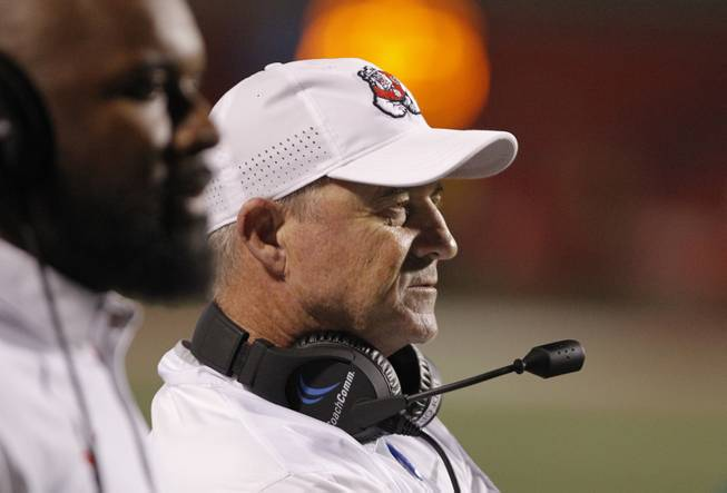 Fresno State's coach Jeff Tedford looks on during a route of Nevada in the second half of an NCAA college football game in Fresno, Calif., Saturday, Sept. 30, 2017. (AP Photo/Gary Kazanjian)