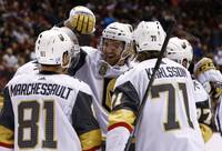 The Golden Knights scored three goals in a minute and 42 seconds and outlasted the Coyotes for a 4-2 win Saturday night in Arizona.