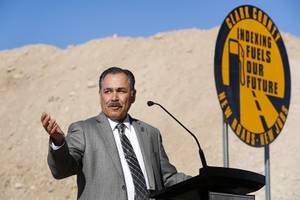 Rudy Malfabon, director of Nevada Department of Transportation (NDOT), gestures during a groundbreaking ceremony for a $34 million Interstate-15 and Starr Avenue interchange project Thursday, Nov. 30, 2017. The interchange, part of a $1.3 billion I-15 South Corridor project, is expected to be completed in May 2019.