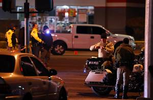 Metro Police officers investigate after a fatal auto pedestrian accident on Sahara Avenue at Sixth Street Monday, Dec. 4, 2017.