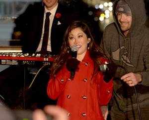 Olympic Gold Medalist and Dancing with the Stars Winner Kristi Yamaguchi does the honors at The Cosmopolitans Ice Rink for their inaugural holiday tree lighting above the Las Vegas Strip. Monday, December 4, 2017.