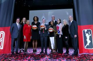 From left: Bill Hornbuckle, Lilian Tomovich, Lisa Borders, Lisa Alexander, Jim Murren, Moriah Jefferson, Bill Laimbeer, Ann Rodriguez, Jay Parry, Chuck Bowling pose for a photo during a WNBA and MGM Resorts announcement at the House of Blues at Mandalay Bay, Monday, Dec. 11, 2017. MGM Resorts International announced that its WNBA franchise will be called the Las Vegas Aces. Las Vegas first major professional basketball team  formerly the San Antonio Stars  will begin play in its new home in the 2018 season.
