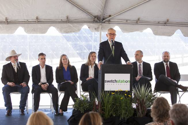 Former U.S. Senator Harry Reid speaks to the crowd during a ceremony to celebrate the commissioning of the 179 megawatt Switch Station 1 and 2 Solar Projects, Monday, Dec. 11, 2017.  This is the first-ever project to be built in one of the Bureau of Land Management's Solar Energy Zones.