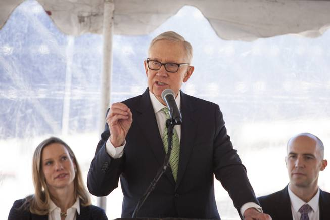Former U.S. Senator Harry Reid speaks to the crowd during a ceremony to celebrate the commissioning of the 179 megawatt Switch Station 1 and 2 Solar Projects, Monday, Nov. 11, 2017.  This is the first-ever project to be built in one of the Bureau of Land Management's Solar Energy Zones.
