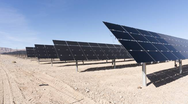 An array of solar panels from the Switch Station is seen during a ceremony to celebrate the commissioning of the 179 megawatt Switch Station 1 and 2 Solar Projects, Monday, Dec. 11, 2017.  This is the first-ever project to be built in one of the Bureau of Land Management's Solar Energy Zones.