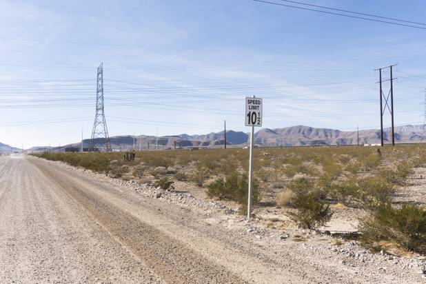 A peculiar speed limit sign of 10 and a half miles per hour designates the speed on the road leading up to the Switch Solar Plant during a ceremony to celebrate the commissioning of the 179 megawatt Switch Station 1 and 2 Solar Projects, Monday, Dec. 11, 2017.  This is the first-ever project to be built in one of the Bureau of Land Management's Solar Energy Zones.
