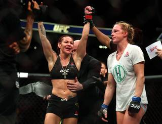 Womens Featherweight Cris Cyborg celebrates her win over Holly Holm following their UFC219 fight at the T-Mobile Arena on Saturday, Dec. 30, 2017.