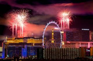 The fireworks of America's Party 2018 explode over the Las Vegas Strip to welcome the new year in this view from the rooftop of the Convention Center Marriott in Las Vegas on Monday, Jan. 1, 2018. More than 80,000 pyrotechnic effects are were lauched from the rooftops of MGM Grand, Aria, Planet Hollywood, Caesars Palace, Treasure Island, The Venetian and Stratosphere. CREDIT: Mark Damon/Las Vegas News Bureau